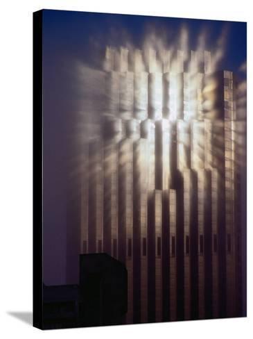 Reflection of Sun of Bank of America Building Through Fog, San Francisco, California, USA-Richard I'Anson-Stretched Canvas Print