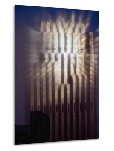 Reflection of Sun of Bank of America Building Through Fog, San Francisco, California, USA-Richard I'Anson-Metal Print