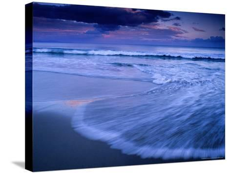 Wave on Shore of Neck Beach at Sunset, Bruny Island, Tasmania, Australia-Gareth McCormack-Stretched Canvas Print