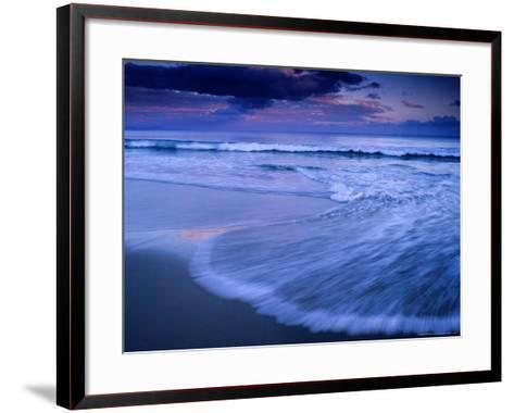 Wave on Shore of Neck Beach at Sunset, Bruny Island, Tasmania, Australia-Gareth McCormack-Framed Art Print