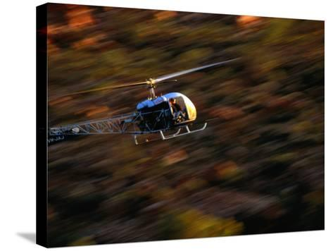 Helicopter at Glen Helen Gorge West Macdonnell National Park, Northern Territory, Australia-John Hay-Stretched Canvas Print