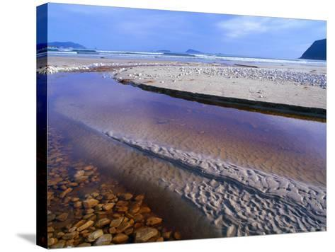 Shallow Water on Stones and Sand at Estuary on Cox Bluff, South West Nat. Park, Tasmania, Australia-Grant Dixon-Stretched Canvas Print