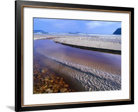 Shallow Water on Stones and Sand at Estuary on Cox Bluff, South West Nat. Park, Tasmania, Australia-Grant Dixon-Framed Art Print
