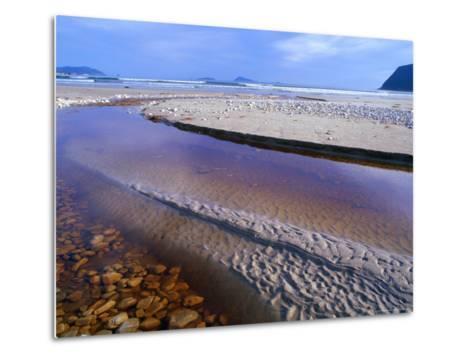 Shallow Water on Stones and Sand at Estuary on Cox Bluff, South West Nat. Park, Tasmania, Australia-Grant Dixon-Metal Print