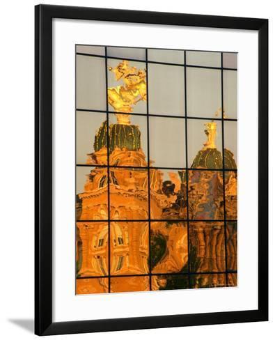 Reflection of the State Capitol Building, Iowa, USA-Richard Cummins-Framed Art Print