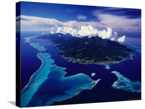 Aerial View of Island and Surrounding Reefs, French Polynesia-Manfred Gottschalk-Stretched Canvas Print