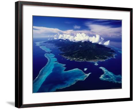 Aerial View of Island and Surrounding Reefs, French Polynesia-Manfred Gottschalk-Framed Art Print