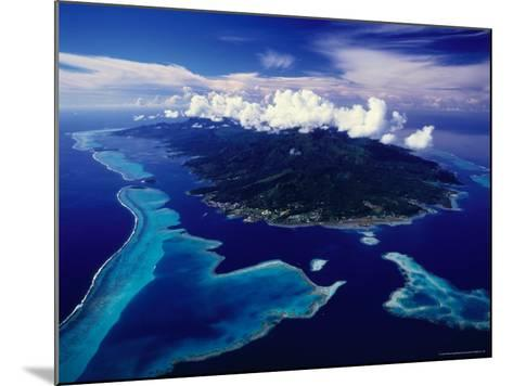 Aerial View of Island and Surrounding Reefs, French Polynesia-Manfred Gottschalk-Mounted Photographic Print