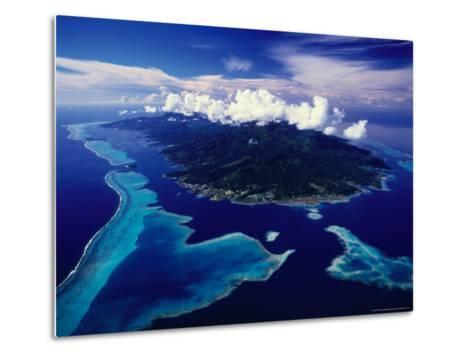Aerial View of Island and Surrounding Reefs, French Polynesia-Manfred Gottschalk-Metal Print