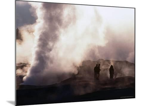 People Silhouetted Against Steam from Geyser Vent, Sol De Manana, Bolivia-Brent Winebrenner-Mounted Photographic Print