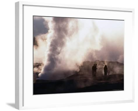 People Silhouetted Against Steam from Geyser Vent, Sol De Manana, Bolivia-Brent Winebrenner-Framed Art Print