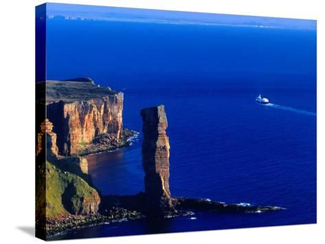 Passenger Ferry Passing Seastack Formation Known as Old Man of Hoy, Wester Ross, Scotland-Gareth McCormack-Stretched Canvas Print
