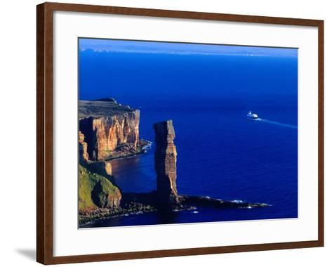 Passenger Ferry Passing Seastack Formation Known as Old Man of Hoy, Wester Ross, Scotland-Gareth McCormack-Framed Art Print
