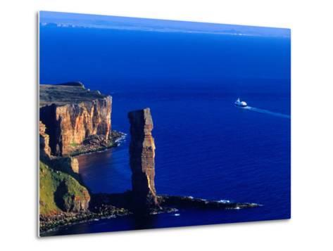 Passenger Ferry Passing Seastack Formation Known as Old Man of Hoy, Wester Ross, Scotland-Gareth McCormack-Metal Print