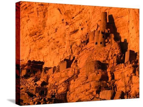Abandoned Tellem Cliff Dwellings, Banani, Mali-John Elk III-Stretched Canvas Print