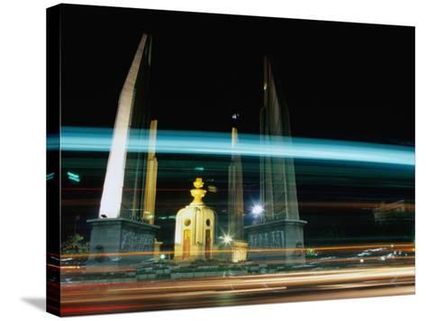 Moving Traffic at Democracy Monument, Bangkok, Thailand-Ryan Fox-Stretched Canvas Print