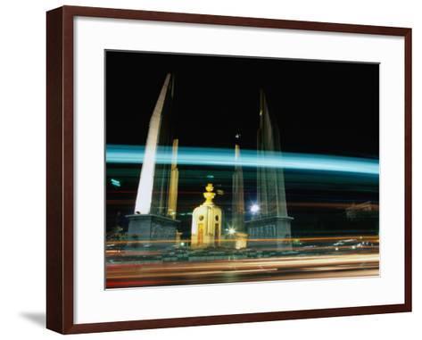 Moving Traffic at Democracy Monument, Bangkok, Thailand-Ryan Fox-Framed Art Print