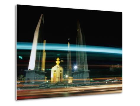 Moving Traffic at Democracy Monument, Bangkok, Thailand-Ryan Fox-Metal Print