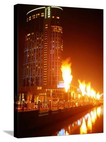 Fire Show in Front of Crown Casino, Melbourne, Australia-John Banagan-Stretched Canvas Print