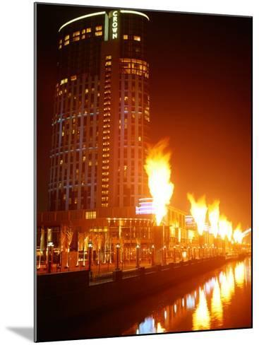 Fire Show in Front of Crown Casino, Melbourne, Australia-John Banagan-Mounted Photographic Print