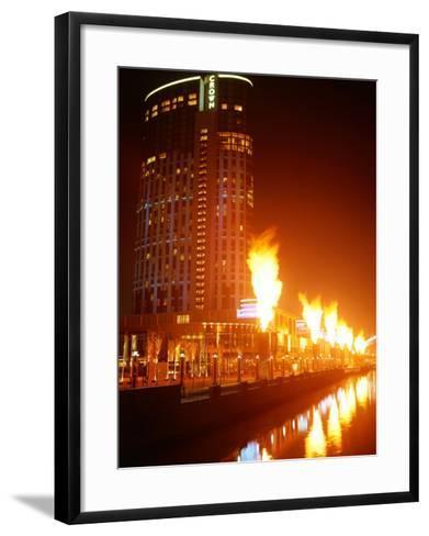 Fire Show in Front of Crown Casino, Melbourne, Australia-John Banagan-Framed Art Print
