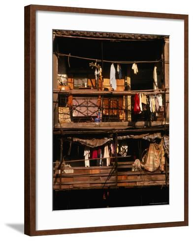 Balconies of Apartment Building in Sheung Wan, Hong Kong-Dallas Stribley-Framed Art Print