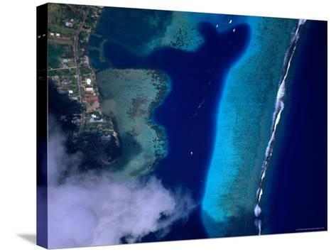 Aerial View of Coral Reef, French Polynesia-Peter Hendrie-Stretched Canvas Print