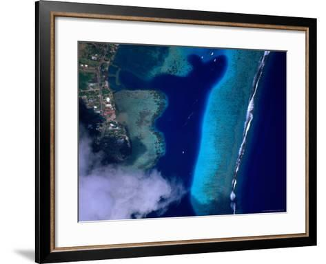 Aerial View of Coral Reef, French Polynesia-Peter Hendrie-Framed Art Print
