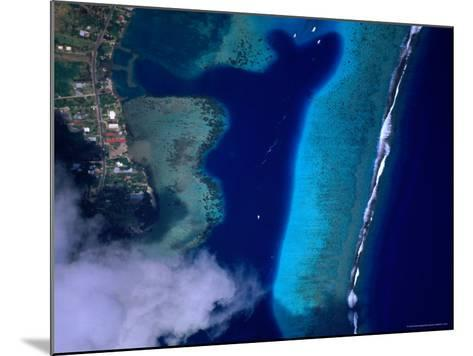 Aerial View of Coral Reef, French Polynesia-Peter Hendrie-Mounted Photographic Print