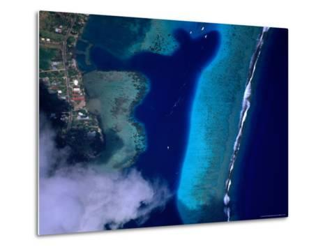 Aerial View of Coral Reef, French Polynesia-Peter Hendrie-Metal Print
