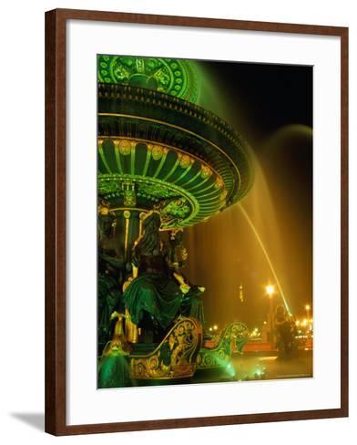 Illuminated Fountain in Place De La Concorde, Paris, France-Richard Nebesky-Framed Art Print