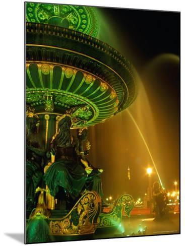 Illuminated Fountain in Place De La Concorde, Paris, France-Richard Nebesky-Mounted Photographic Print