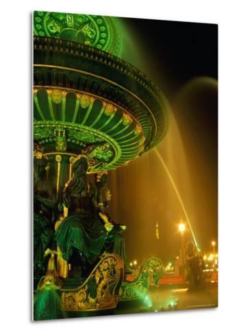 Illuminated Fountain in Place De La Concorde, Paris, France-Richard Nebesky-Metal Print