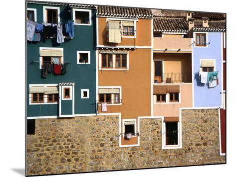 Washing Hanging from House Windows in La Vila Joiosa, Benidorm, Spain-Mark Daffey-Mounted Photographic Print