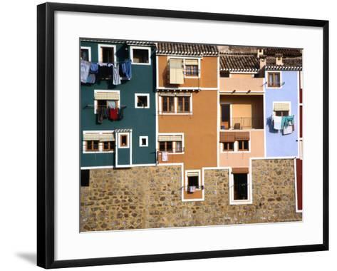 Washing Hanging from House Windows in La Vila Joiosa, Benidorm, Spain-Mark Daffey-Framed Art Print