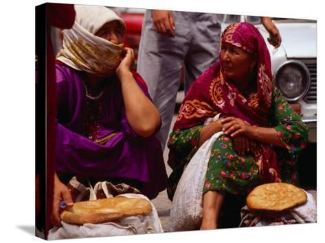 Women Selling Bread at the Market, Mary, Mary, Turkmenistan-Jane Sweeney-Stretched Canvas Print