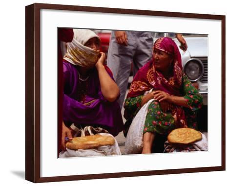 Women Selling Bread at the Market, Mary, Mary, Turkmenistan-Jane Sweeney-Framed Art Print