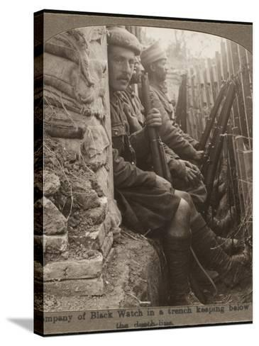 Members of the Black Watch Regiment in the Trenches--Stretched Canvas Print