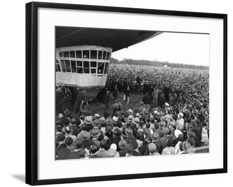 The Graf Zeppelin Airship at Hanworth Aerodrome Surrounded by Onlookers, 1931--Framed Art Print