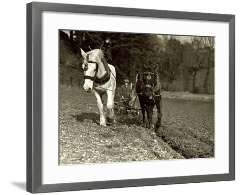 Farmer Ploughing His Field with Horses--Framed Art Print