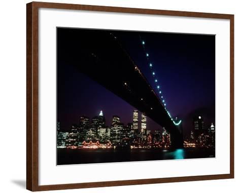Brooklyn Bridge and Skyline of New York City at Night--Framed Art Print