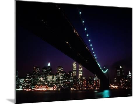 Brooklyn Bridge and Skyline of New York City at Night--Mounted Photographic Print