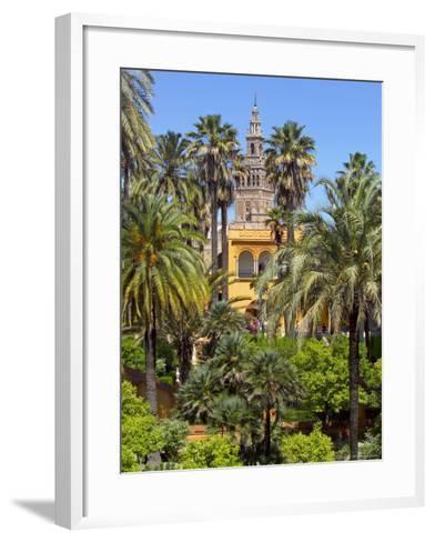 Giralda Tower Seen from Alcazar Gardens, Seville, Spain-Alan Copson-Framed Art Print
