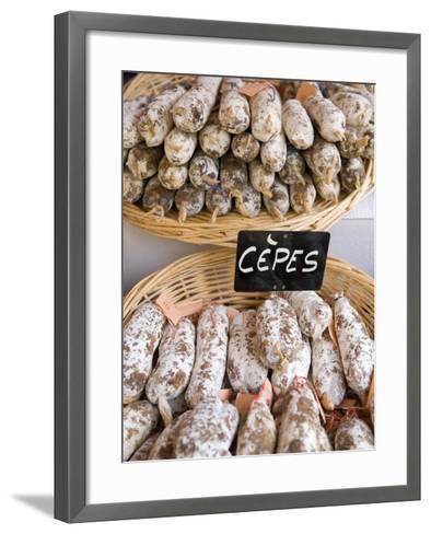Sausages at Market Day, Sarlat, Dordogne, France-Doug Pearson-Framed Art Print