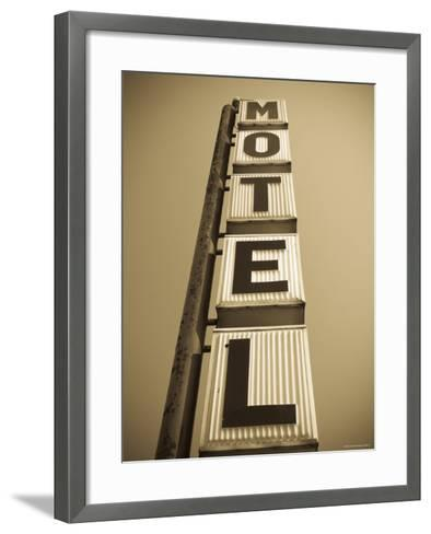USA, Illinois, Route 66, Broadwell, Old Motel Sign-Alan Copson-Framed Art Print