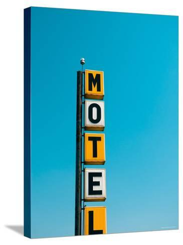 USA, Illinois, Route 66, Broadwell, Old Motel Sign-Alan Copson-Stretched Canvas Print