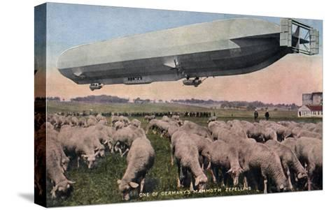 Germany - View of a Zeppelin Blimp over Grazing Sheep-Lantern Press-Stretched Canvas Print