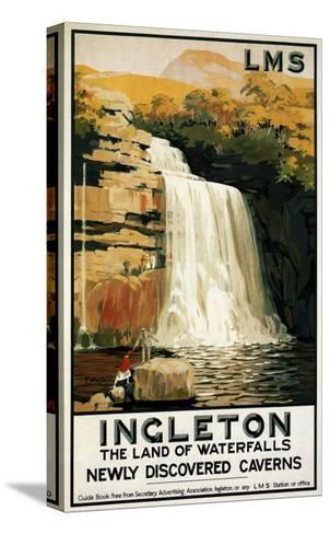 Ingleton, England - Spectators Climb on Waterfall Railway Poster-Lantern Press-Stretched Canvas Print