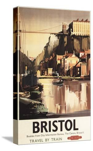 Bristol, England - Clifton Suspension Bridge and Boats British Rail Poster-Lantern Press-Stretched Canvas Print