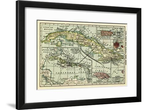 Cuba - Panoramic Map-Lantern Press-Framed Art Print